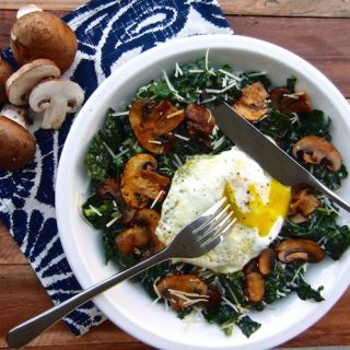 Kale Caesar with Chipotle Mushrooms and a Runny Egg