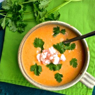 Chilled Mango Red Curry Soup with Shrimp