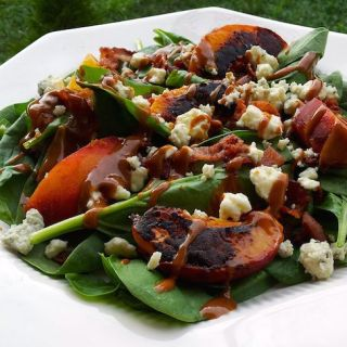 Grilled Peach Salad with Blue Cheese & Bacon