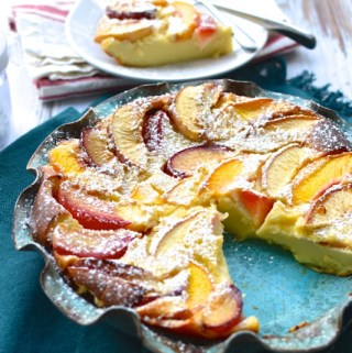 Stone Fruit Clafoutis made with nonfat Greek yogurt instead of heavy cream! | theeverykitchen.com