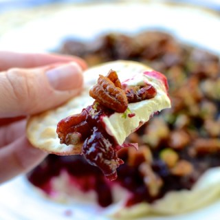 Cranberry Sauce Cream Cheese Dip with Candied Pecans