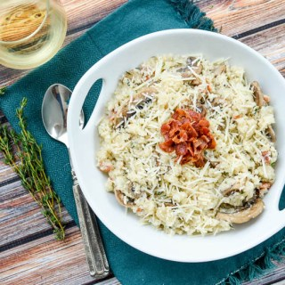 Mushroom Bacon Cauliflower Risotto | www.theeverykitchen.com
