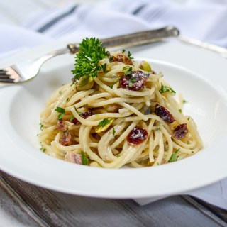 Gorgonzola Pasta with Cranberries and Pistachios