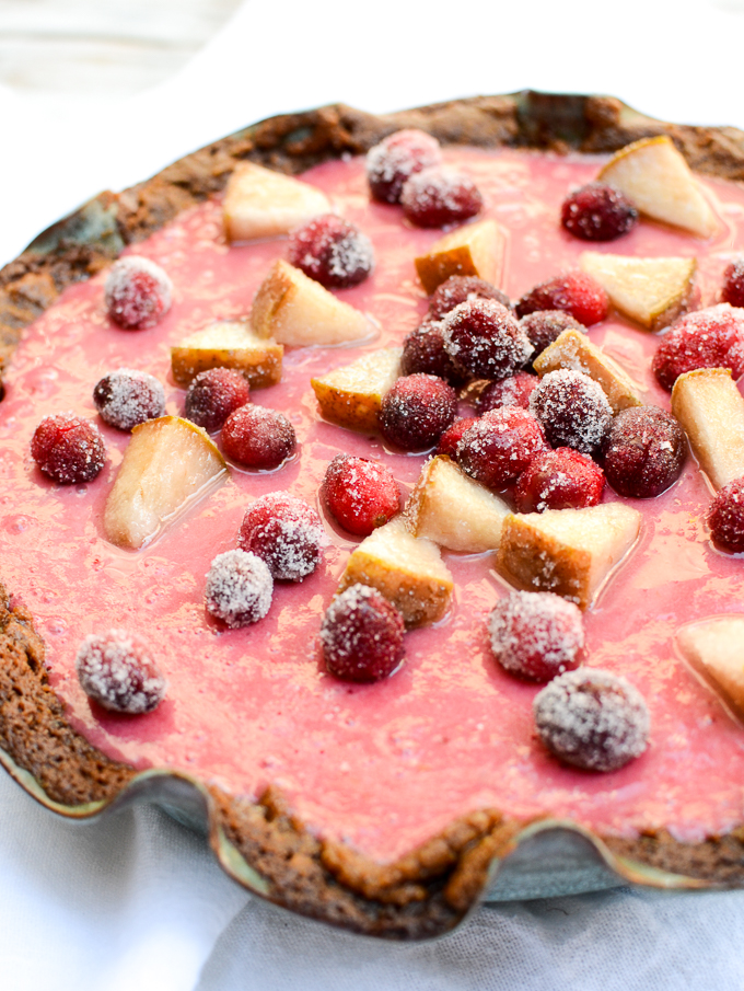 Cranberry-Pear Cream Pie with Gingersnap Crust | www.theeverykitchen.com