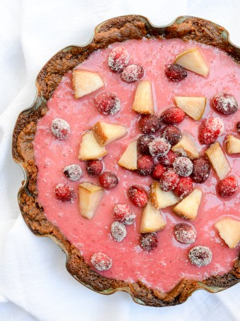 Cranberry-Pear Cream Pie with Gingersnap Crust | theeverykitchen.com
