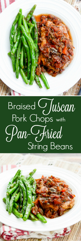 Braised Tuscan Pork Chops with Pan-Fried String Beans is a quick, easy, and flavorful. Keep it in your back pocket when you need to impress! | theeverykitchen.com