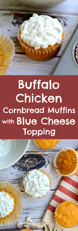 Perfect for Game Day! Buffalo Chicken Cornbread Muffins with Blue Cheese Topping   theeverykitchen.com