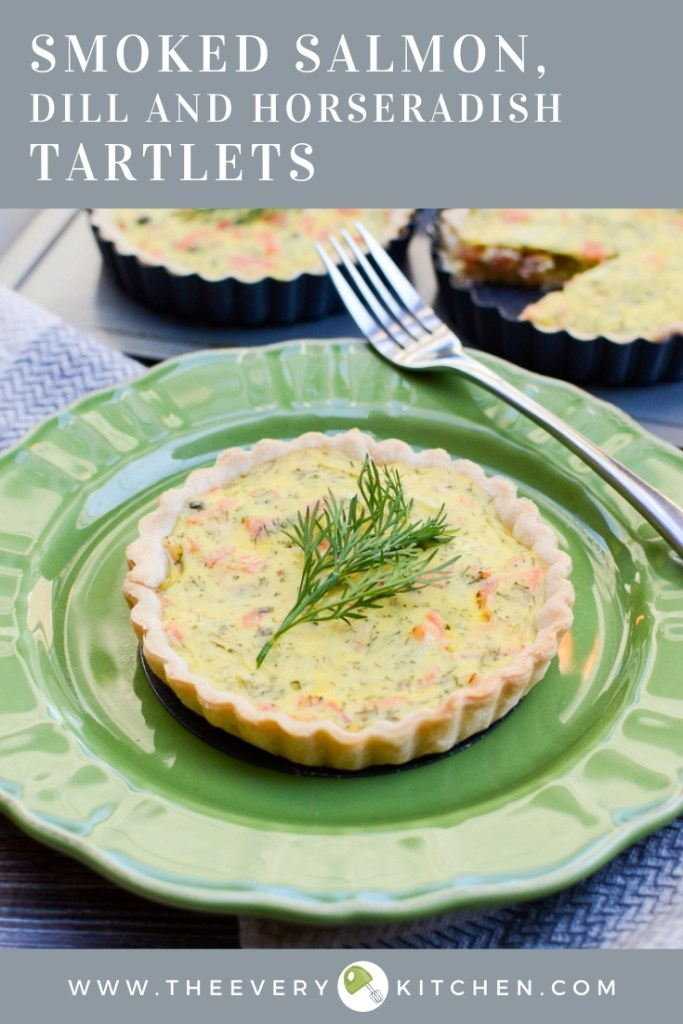 My newest recipe obsession: Smoked Salmon, Dill, and Horseradish Tartlets for their perfectly baked crusts with salty, smoky, herby, and slightly spicy eggy filling. | theeverykitchen