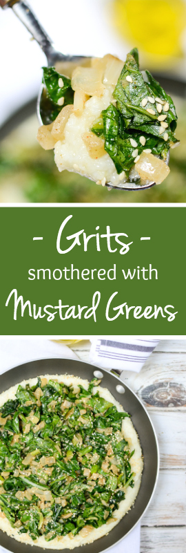 Grits Smothered with Mustard Greens is a healthy, nutrient-rich, vegan dinner. This simple, rustic recipe is also sugar free and gluten free. | theeverykitchen.com