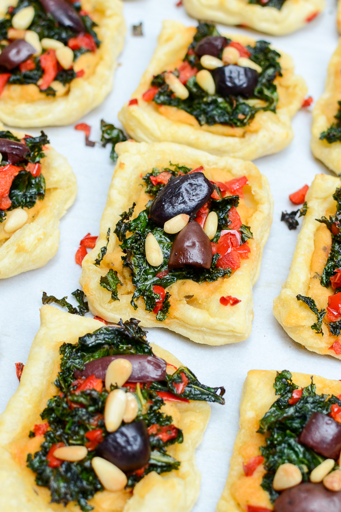 Pine Nut Hummus Mediterranean Pastry Squares are your next party appetizer. So full of flavor, your guests will never guess they're vegan and sugar free! #sponsored   theeverykitchen.com