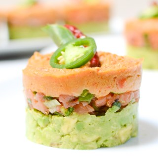 Spicy Salmon, Hummus, and Avocado Stacks
