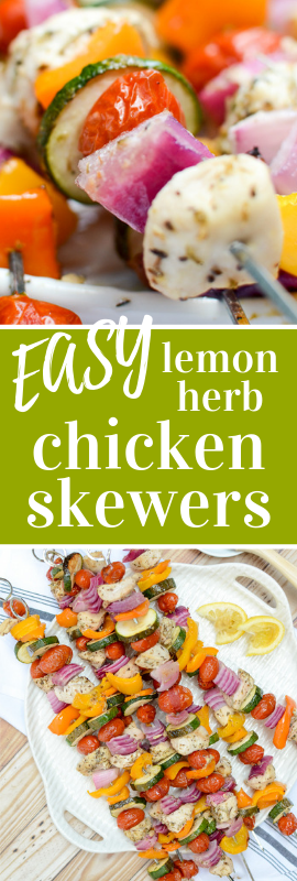 This recipe for Lemon Herb Chicken Skewers is farmer's market fresh with a snappy flavor and they're gluten free, sugar free, and paleo friendly too. | theeverykitchen.com