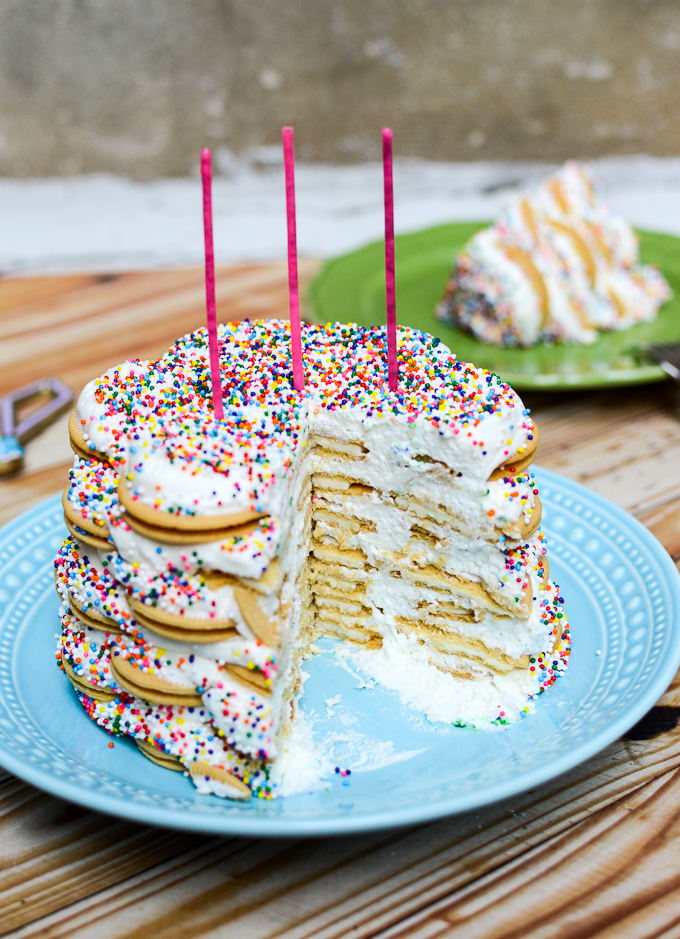 I did share my Rainbow Sprinkle Vanilla Icebox Cake, but I really, really, very much truly wish that I had eaten the entire recipe myself! | theeverykitchen.com