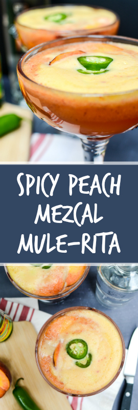 Spicy Peach Mezcal Mule-Ritas are frothy and sweet with fresh summer peaches. Mezcal adds smoke and jalapeños add zing. Best part? Ready in five minutes!| theeverykitchen.com