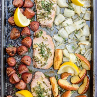 Sheet Pan Sage Pork with Apples and Potatoes is a quick and easy weeknight recipe. It's sugar free and gluten free, so you can feel good about it too! | theeverykitchen.com