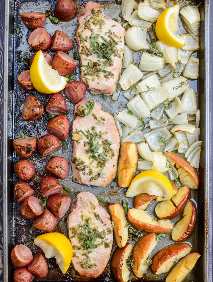 Sheet Pan Sage Pork with Apples and Potatoes is a quick and easy weeknight recipe. It's sugar free and gluten free, so you can feel good about it too!   theeverykitchen.com