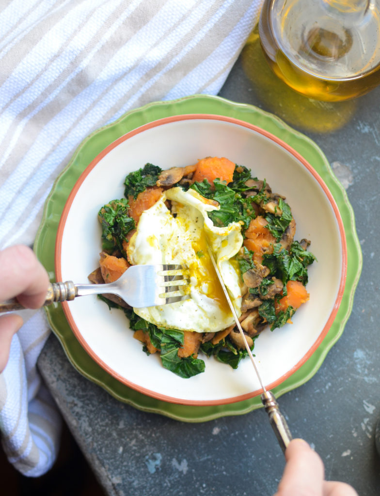 Make breakfast healthier, tastier, and more satisfying with simple swaps. Sweet Potato, Kale, Mushroom Hash is #vegetarian #glutenfree and #sugarfree | theeverykitchen.com