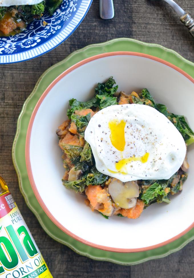 Make breakfast healthier, tastier, and more satisfying with simple swaps. Sweet Potato, Kale, Mushroom Hash is #vegetarian #glutenfree and #sugarfree   theeverykitchen.com