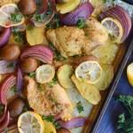 Sheet Pan Chicken Thighs with Lemon Potatoes