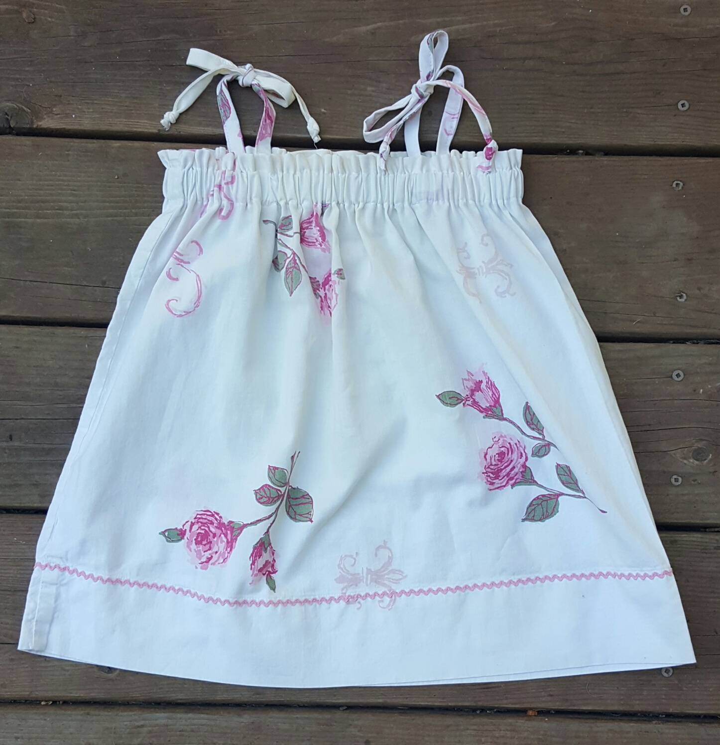 finished toddler pillowcase sundress
