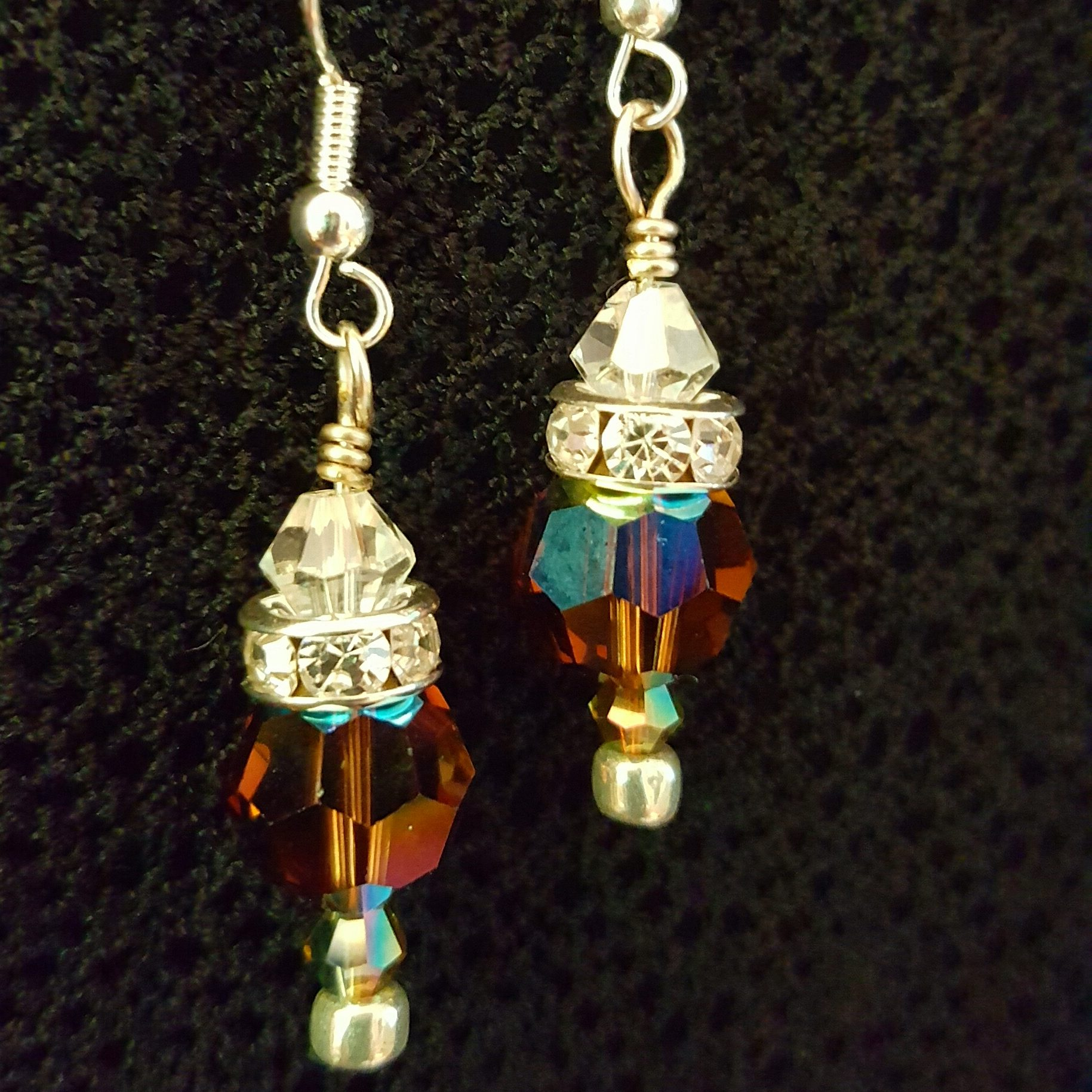 Round Faceted Swarovski Crystal Earrings