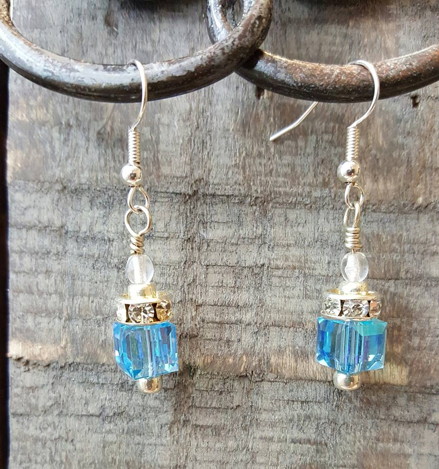 Blue Swarovski Crystal Cube Earrings