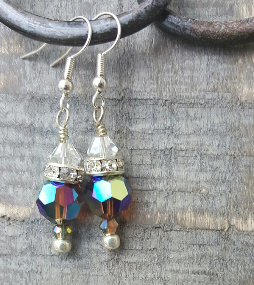 Multi-color Swarovski Crystal Faceted Earrings