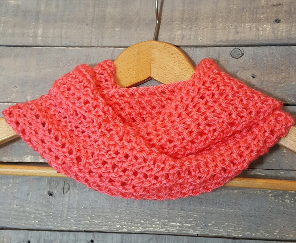 hand crocheted cowl/ scarf melon