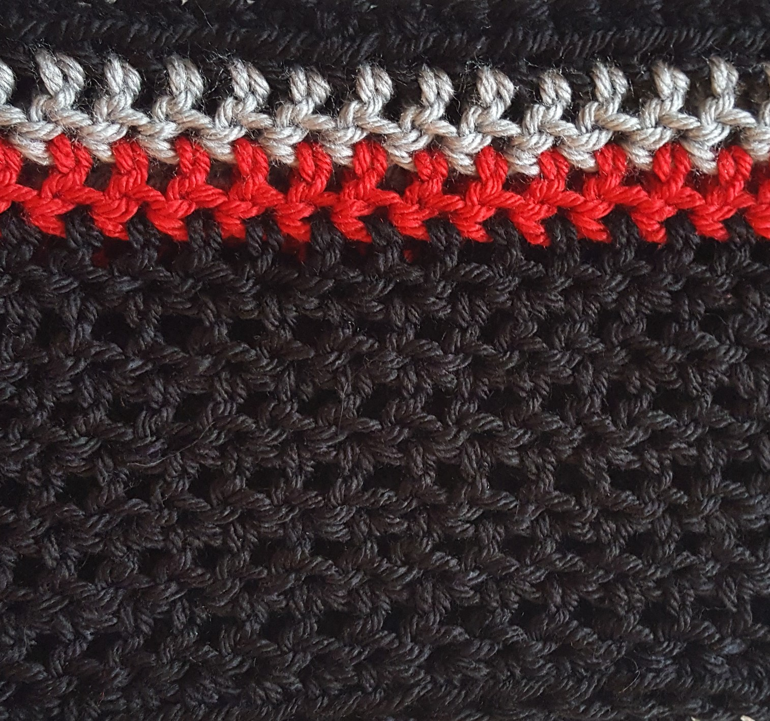 red-grey hand-crocheted cowl