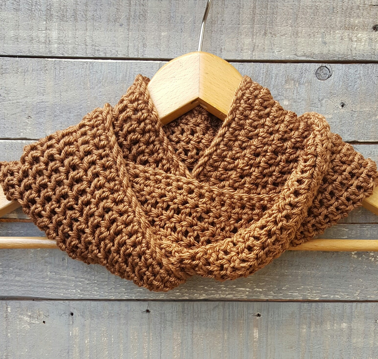 hand crocheted scarf hazelnut