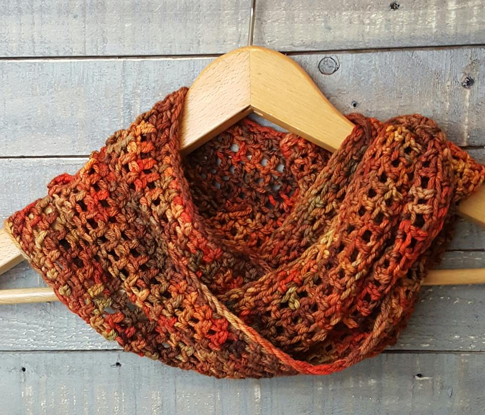 handcrocheted cowl, scarf merino autumn multi