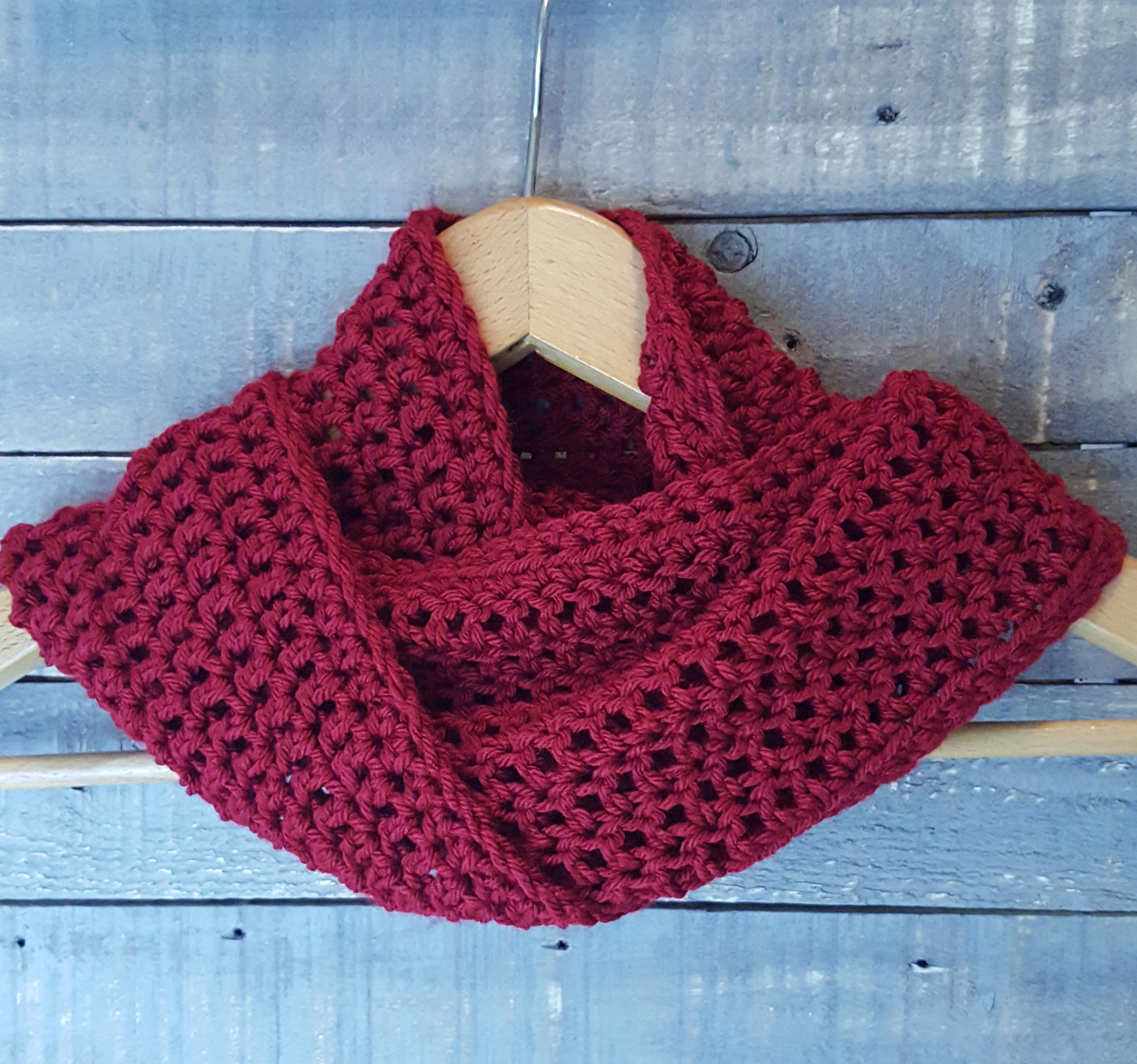 handcrocheted cowl, scarf wine