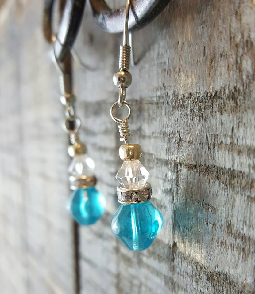aqua glass bead-crystal earrings