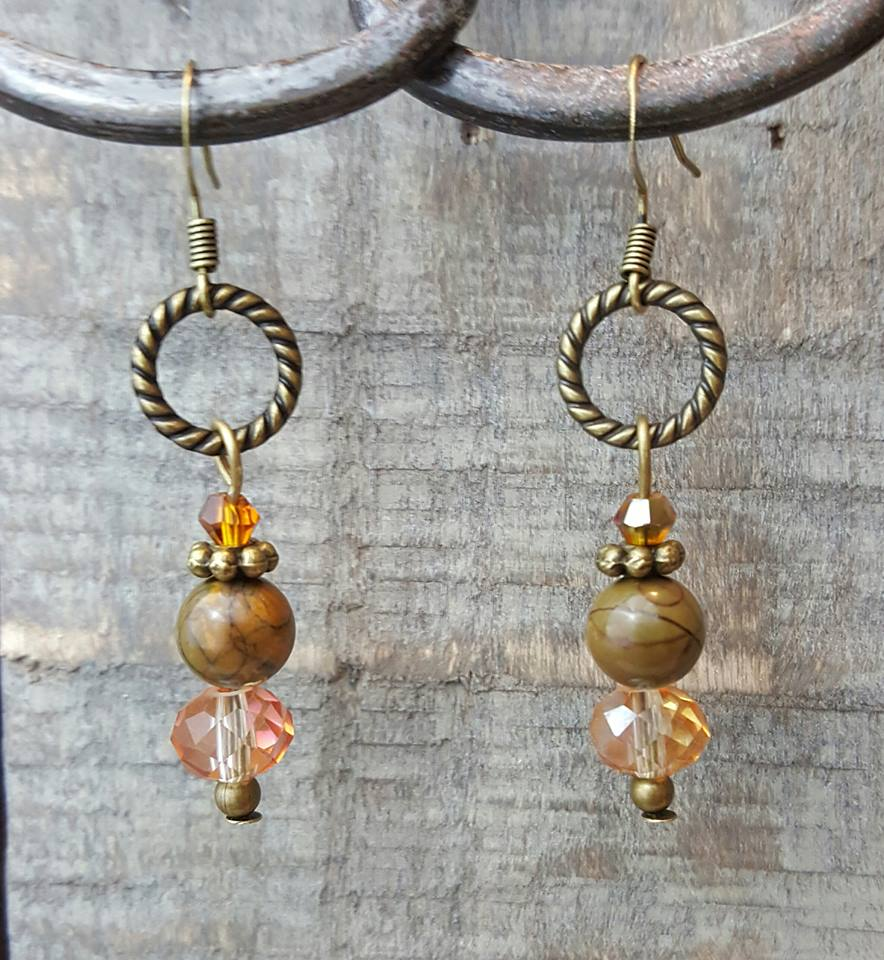 Jasper Crystal Earrings-dark olive