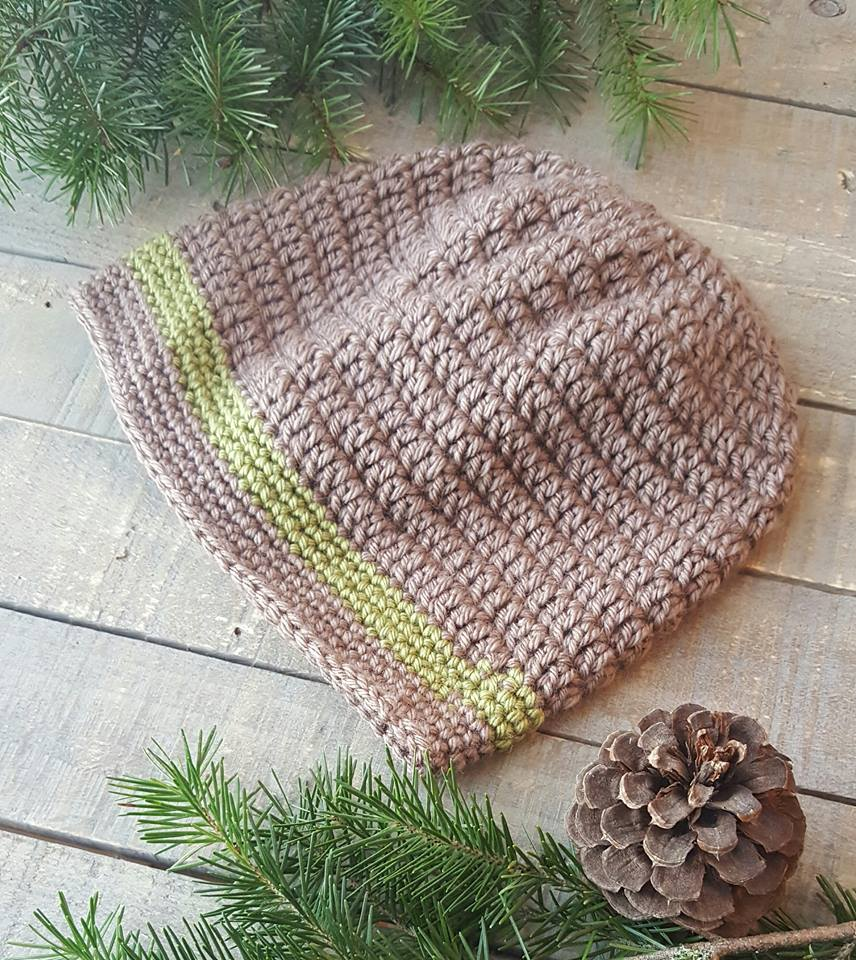 Hand Crochet Slouch Hat brown green