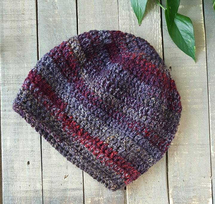 Hand Crochet Slouch Hat purple