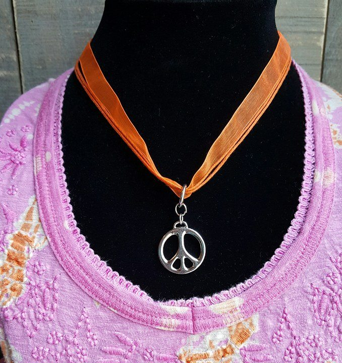 orange ribbon - Peace Symbol Choker