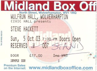 Ticket Wolverhampton Wulfrun Hall (Scanned by Evil Jam)