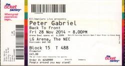 PG 28th Nov 2014 Ticket Birmingham