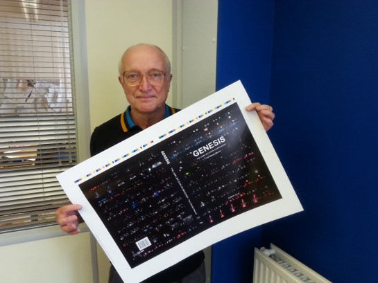 Robert holds up a test print of the front cover