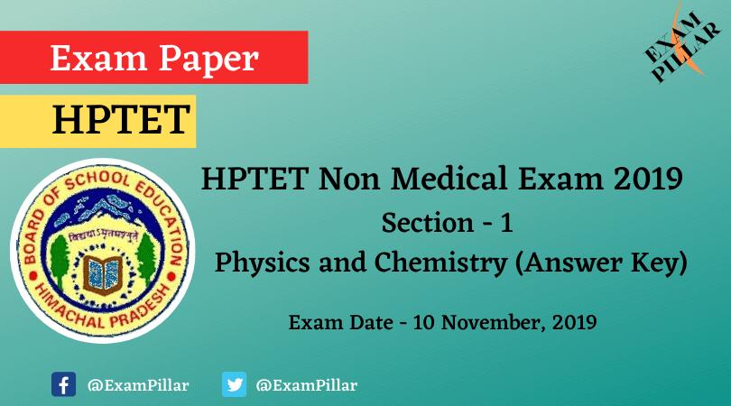 HPTET Non Medical Exam 2019 (Answer Key)