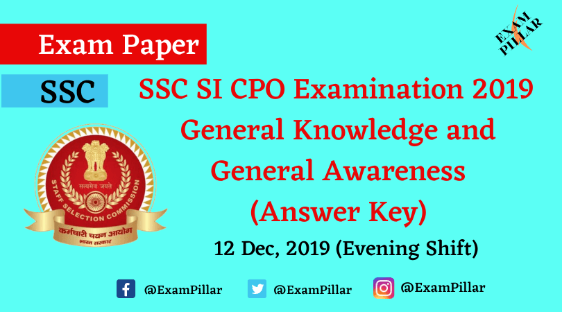 SSC CPO Exam Paper 12 Dec 2019 (2nd Shift) - General Knowledge and General Awareness (Answer Key)