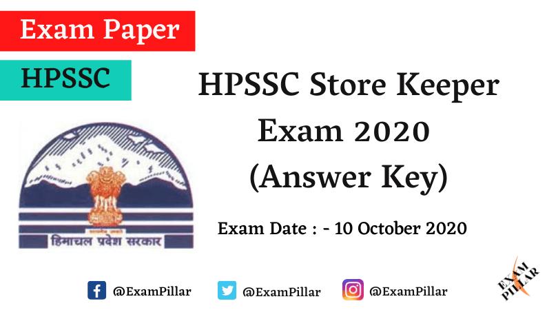 HPSSC Store Keeper Answer Key 2020