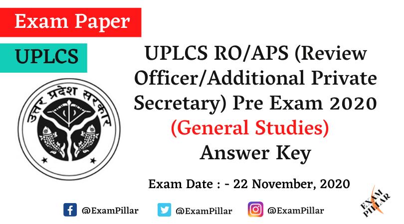 UP Sachivalaya RO APS Exam Answer Key)