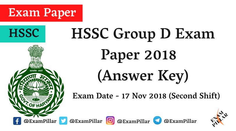 HSSC Group D Exam Paper 2018 (Answer Key)