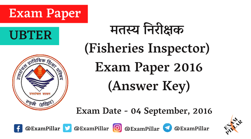 UBTER Fisheries Inspector Exam Paper with Answer Key