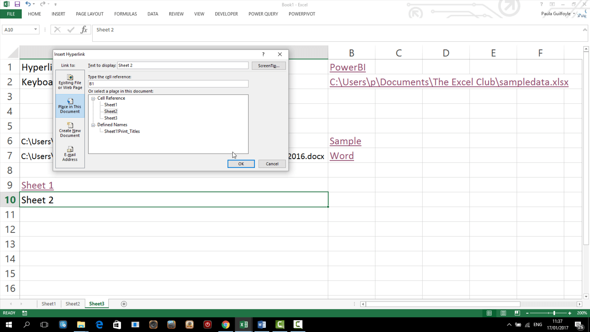 How To Use The Hyperlink Feature And Function In Excel Video