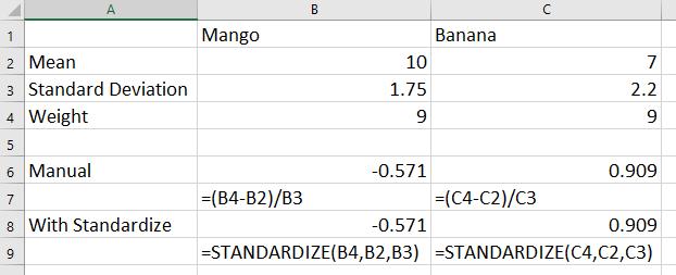 standardize in excel
