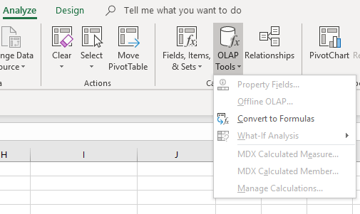 PIvot tables OLAP Tools