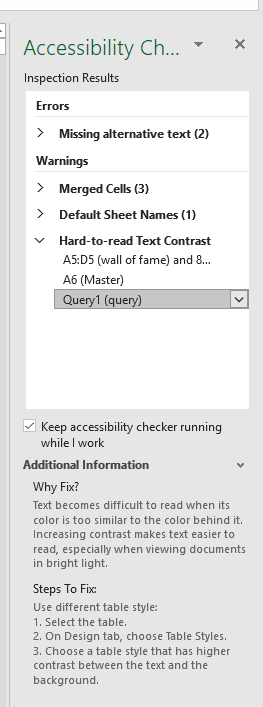 accessibility checker in excel